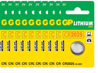 GP CR2025 Lithium, 3V, 10 pack
